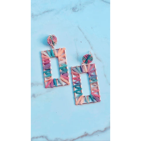Rainbow Burst Rectangle Earring