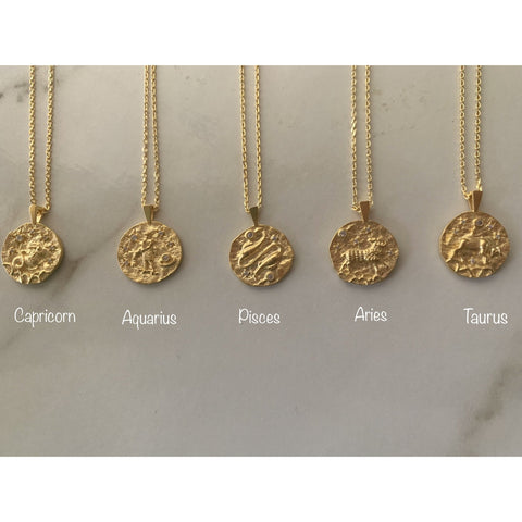 Zodiac Coin Pendant Necklaces