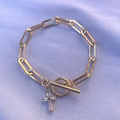 Let's Link | Long Link Bracelet with Cross Charm