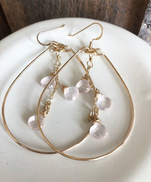 Quinn Sharp Jewelry Designs - Gold Teardrop With Rose Quartz Triplet