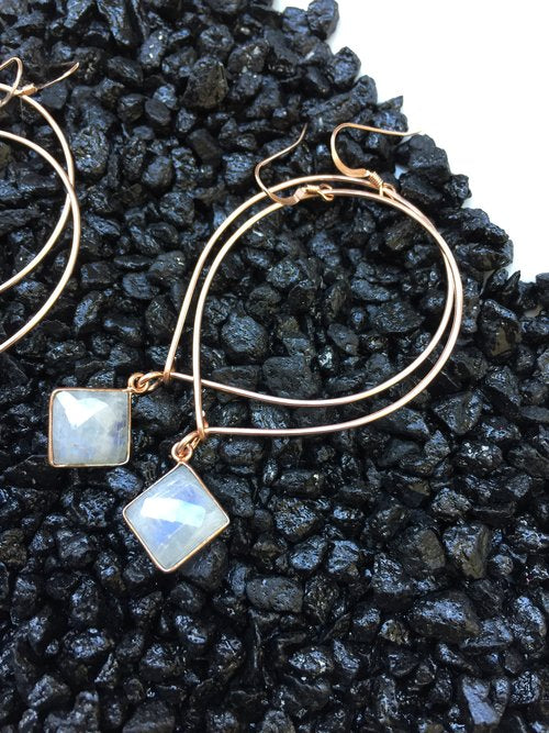 Quinn Sharp Jewelry Designs - Rose Gold Inverted Teardrop Hoops