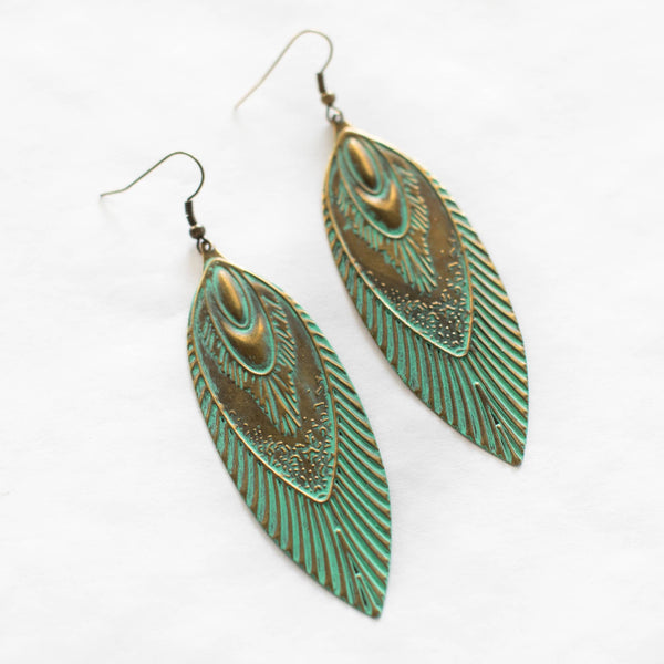 Gleeful Peacock - Flame Earrings