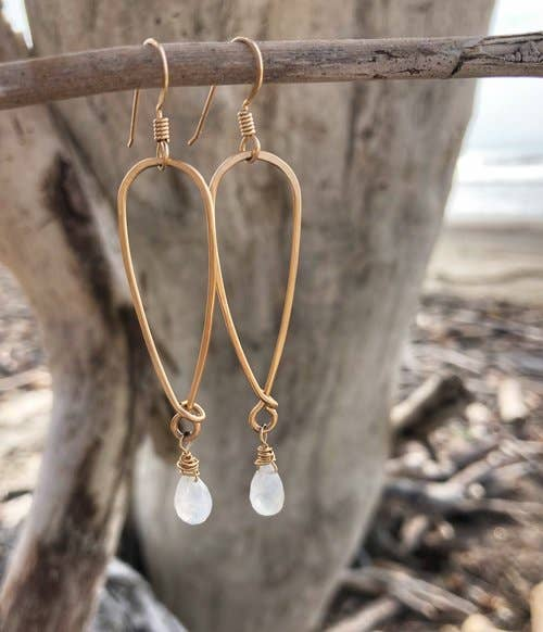 Quinn Sharp Jewelry Designs - Long Inverted Teardrop With Moonstone