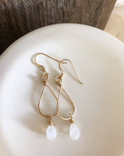 Quinn Sharp Jewelry Designs - Small Gold Teardrop With Moonstone Drop