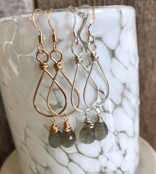 Quinn Sharp Jewelry Designs - Small Teardrop Hoops With Labradorite Gemstone