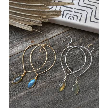Quinn Sharp Jewelry Designs - Inverted Teardrop Hoops With Labradorite Bezel