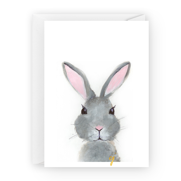 claire jordan designs - 5x7 Bunny animal easter Greeting Card art stationery