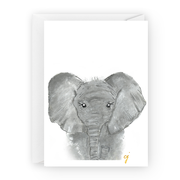 "claire jordan designs - 5"" x 7"" Elephant animal collegiate Greeting Card art"