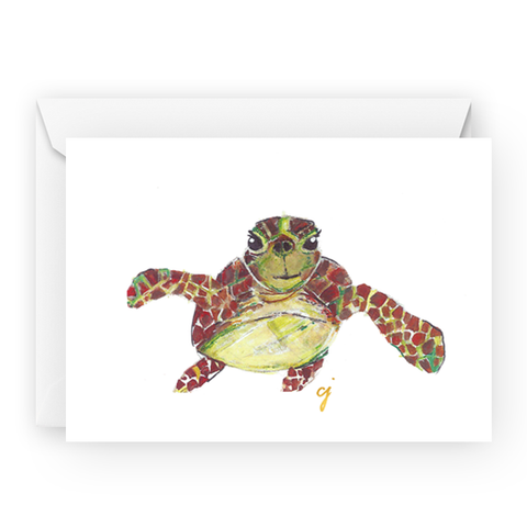 "claire jordan designs - 5"" x 7"" sea turtle greeting card"