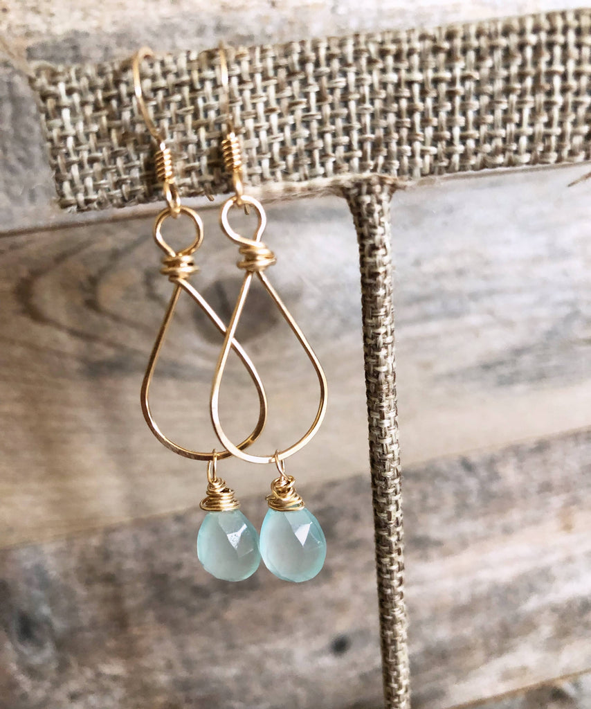 Quinn Sharp Jewelry Designs - Small Teardrop with Aqua Chalcedony