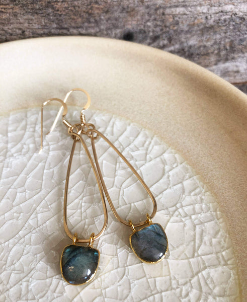 Quinn Sharp Jewelry Designs - Gold Long Teardrop with Moonstone/Labradorite Half Moon