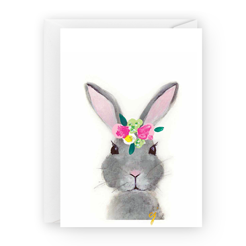 claire jordan designs - floral bunny easter greeting card