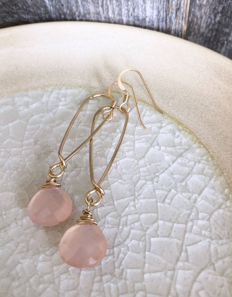 Quinn Sharp Jewelry Designs - Long Inverted Teardrop with Pink Chalcedony
