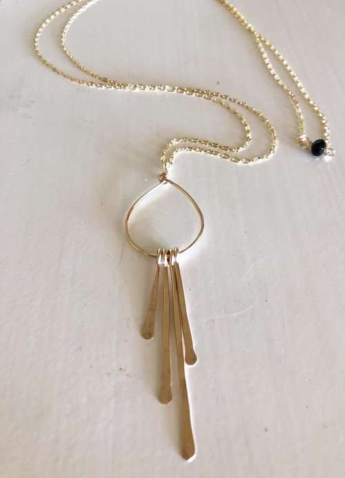 Quinn Sharp Jewelry Designs - Long Chain Necklace With Hammered Spike Cluster