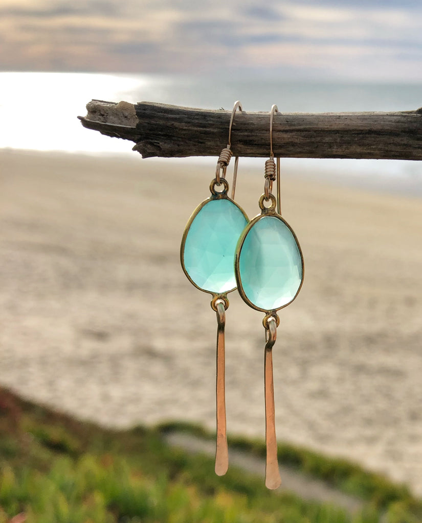 Quinn Sharp Jewelry Designs - Aqua Chalcedony Bezel Dangle Earrings