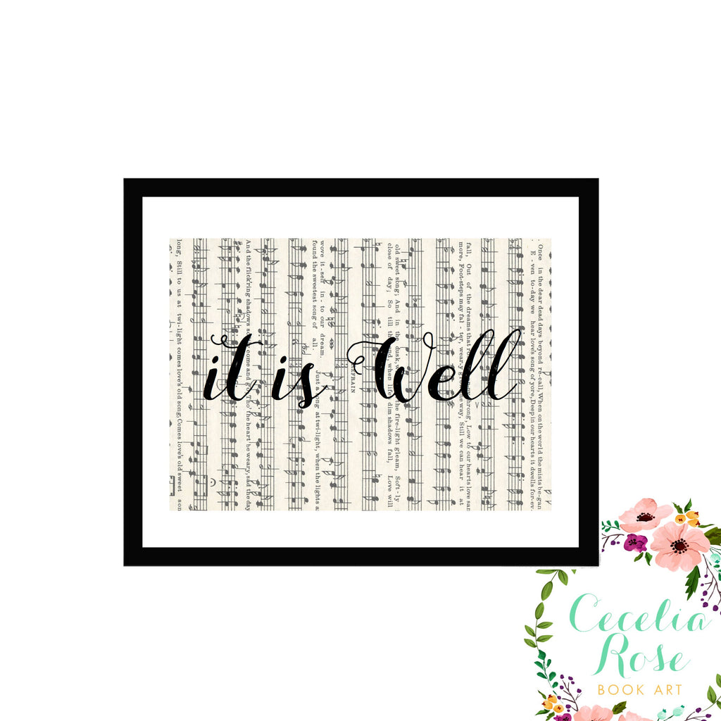 Cecelia Rose Book Art - It Is Well - Vintage Sheet Music