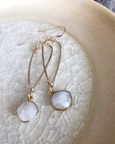 Quinn Sharp Jewelry Designs - Long Inverted Teardrop with Moonstone Bezel