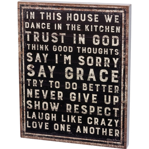 Box Sign - In This House We Dance In The Kitchen