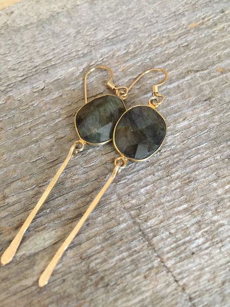 Quinn Sharp Jewelry Designs - Organic Free Form Labradorite Bezel Dangle Earrings