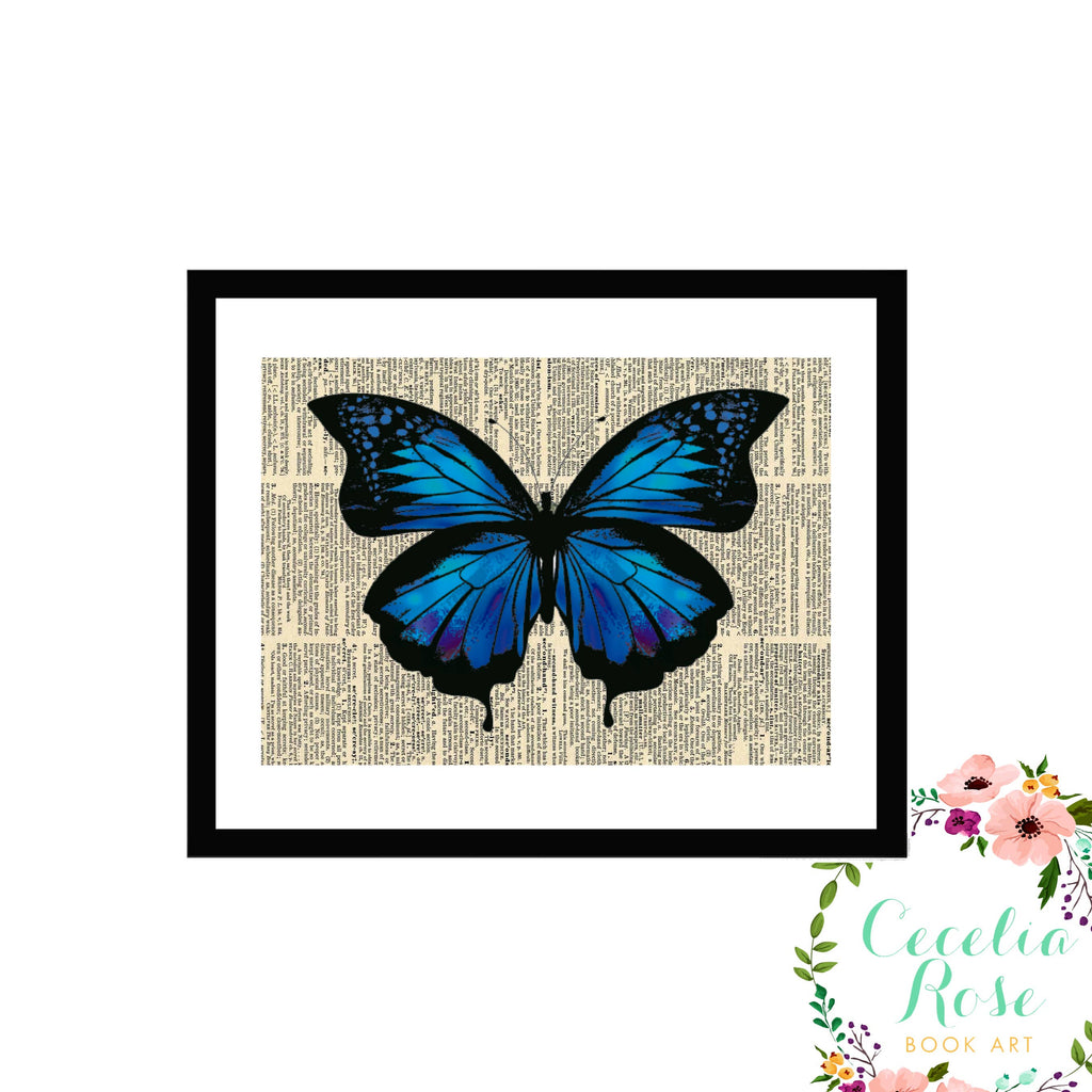 Cecelia Rose Book Art - Blue Indigo Butterfly