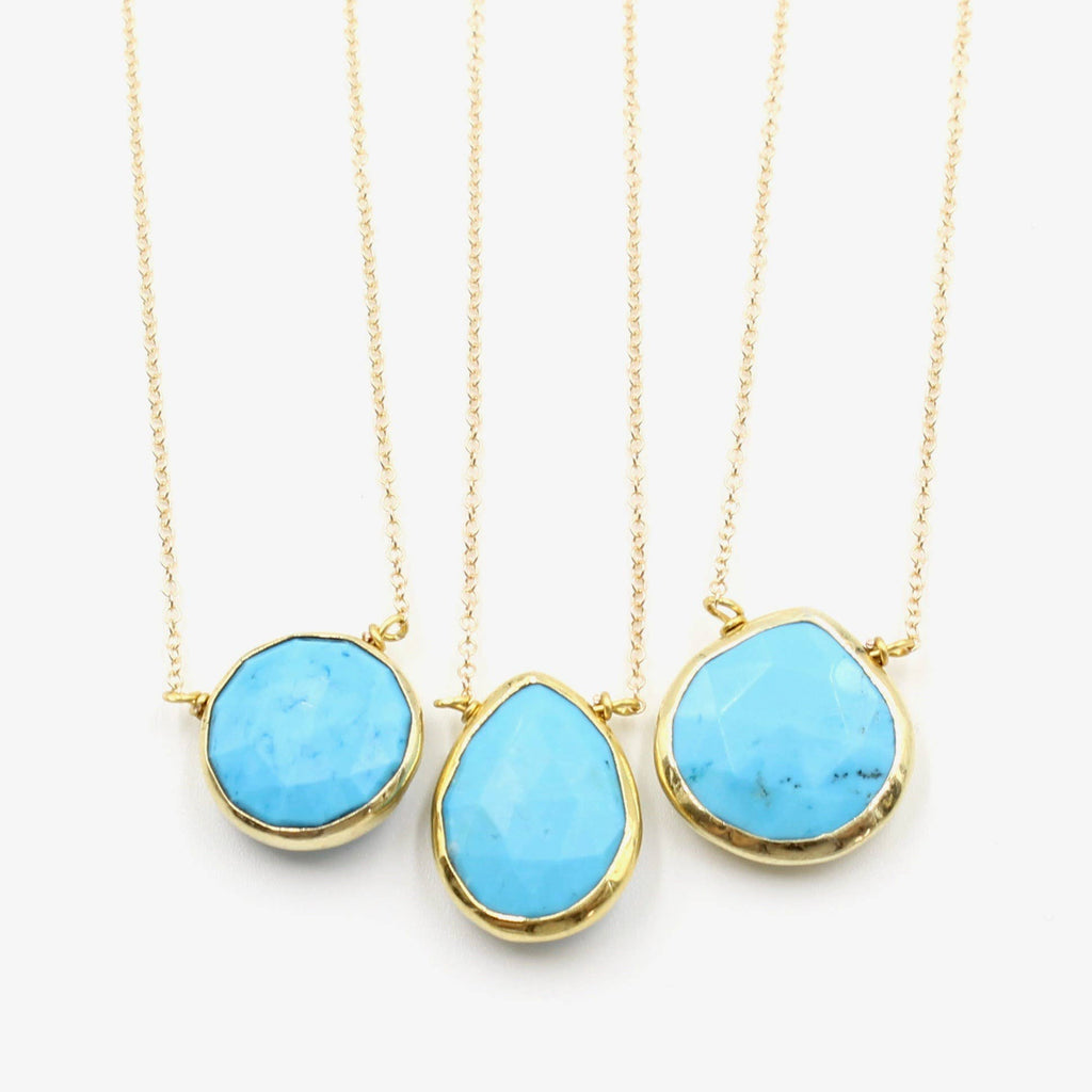 Crafts & Love - Gold Turquoise Teardrop Necklaces