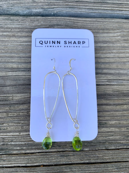 NEW Quinn Sharp Jewelry Designs - Long Inverted Gold & Silver Teardrop with Peridot Quartz