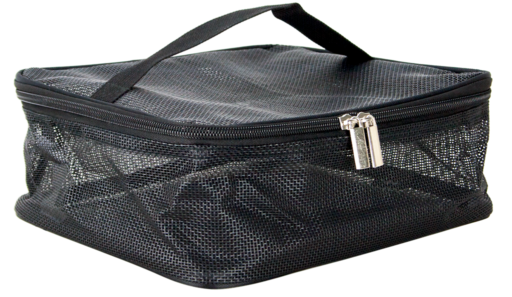 Santonofrio Black-Nylon Mesh 5 Piece Makeup Bag by Casemetic-PC08 - eBest Makeup Cases