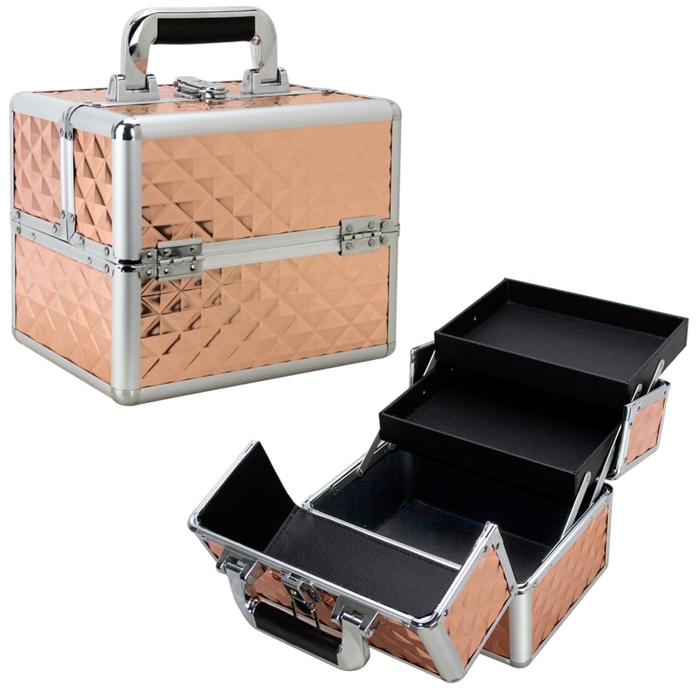 Felicita Train Makeup Case with 2 Extendable Trays by Ver Beauty-VK006 - eBest Makeup Cases