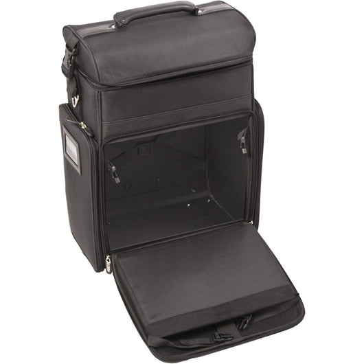 SUNRISE Soft Rolling Makeup Cases C6017, 4 Wheel Carry On Spinner, Ipad/Tablet Holder, Black Canvas