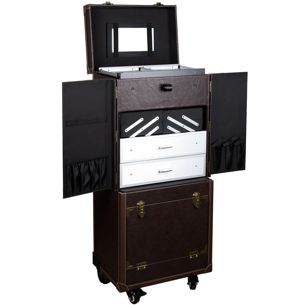 San Polo Leather-Like Rolling Makeup Case & Mirror Studio by Sunrise-C6019 - eBest Makeup Cases