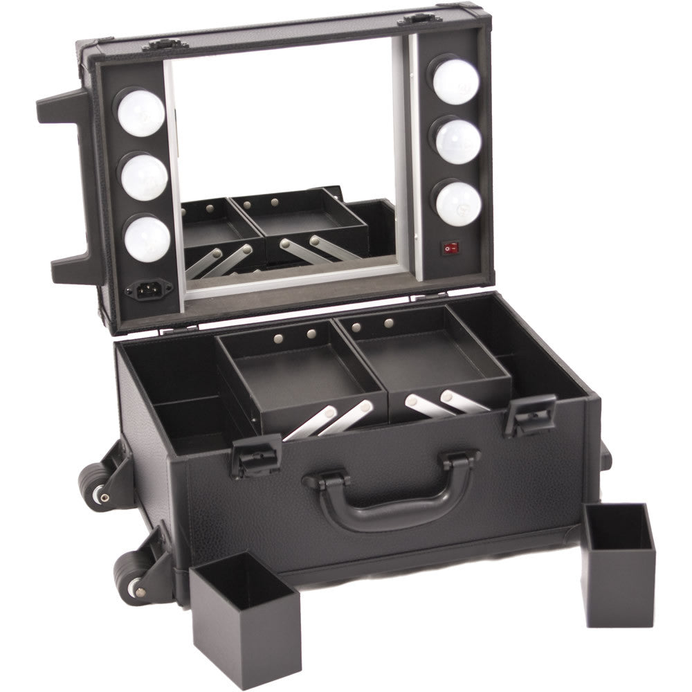 Piscina Leather-Like Rolling Makeup Case w/ Lights & Mirror by Sunrise-C6201 - eBest Makeup Cases