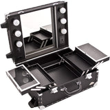 SUNRISE Makeup Cases with Lights C6202 Professional Artist, Faux Leather, 4 Trays, 6 Bulbs, Silver Hardware, Locking with Mirror, Black