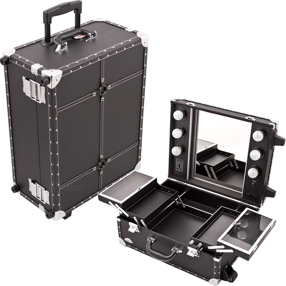Del Forno Black Faux-Leather Rolling Makeup Case by Sunrise-C6202 - eBest Makeup Cases