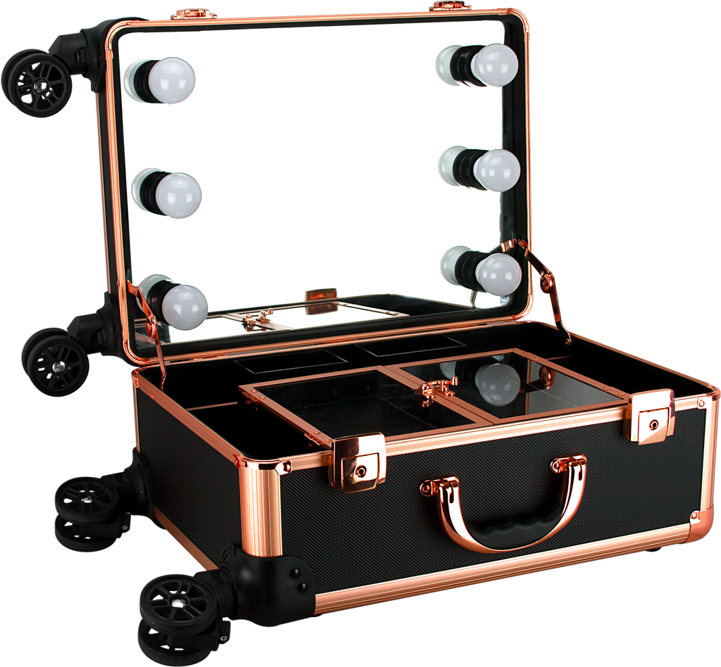 Ravano Makeup Studio with LED Lights by Ver Beauty-C6203DTBK - eBest Makeup Cases
