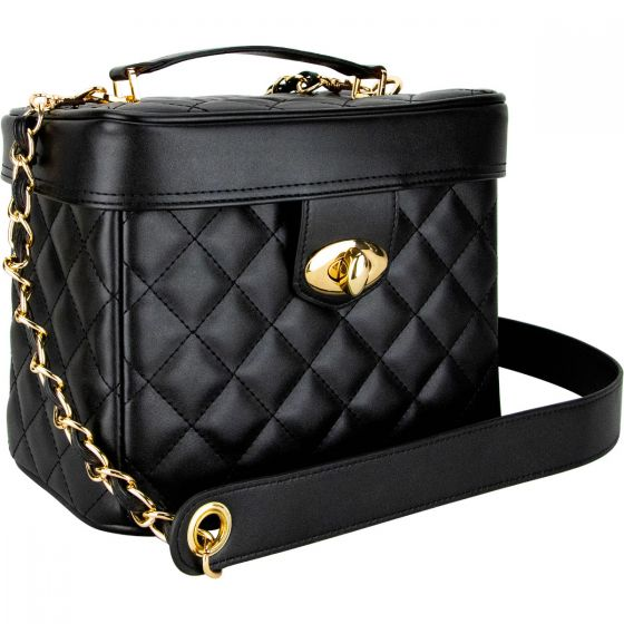Tegolaio Black Quilted with Gold Chain Strap-VB002 - eBest Makeup Cases