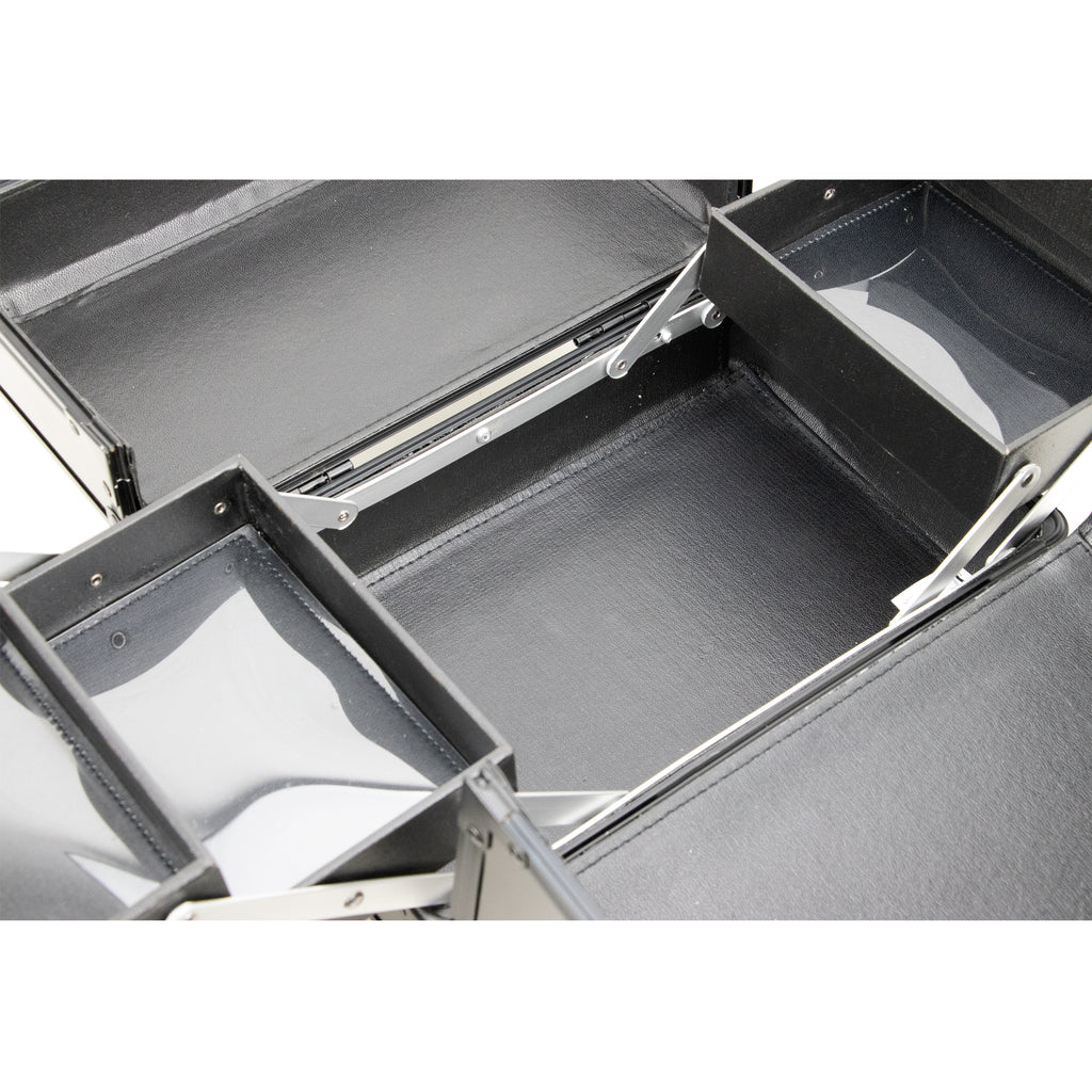 Santa Maria Aluminum Finish Makeup Case w/Accordion Trays by Ver Beauty-VK001