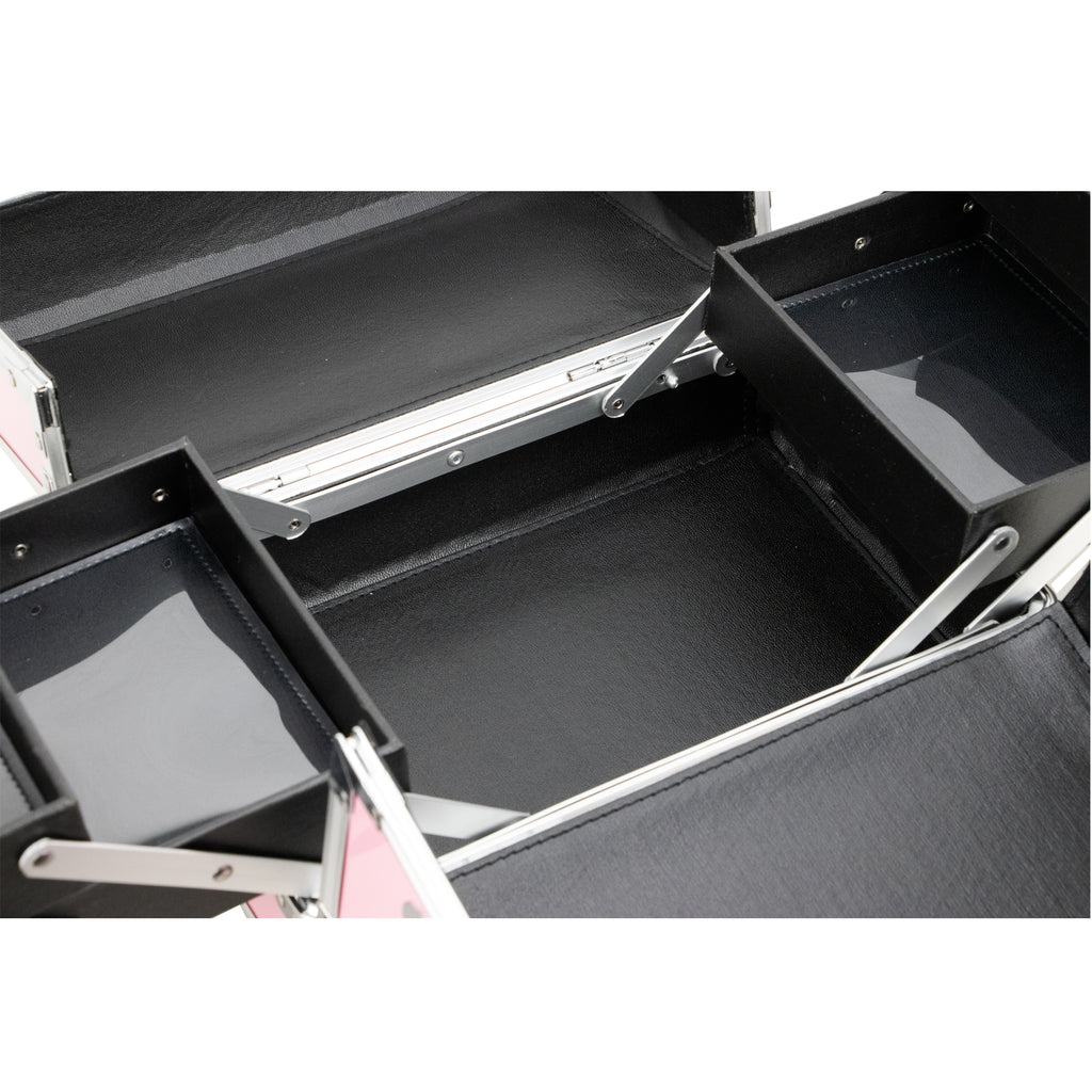 Santa Maria Aluminum Finish Makeup Case w/Accordion Trays by Ver Beauty-VK001 - eBest Makeup Cases
