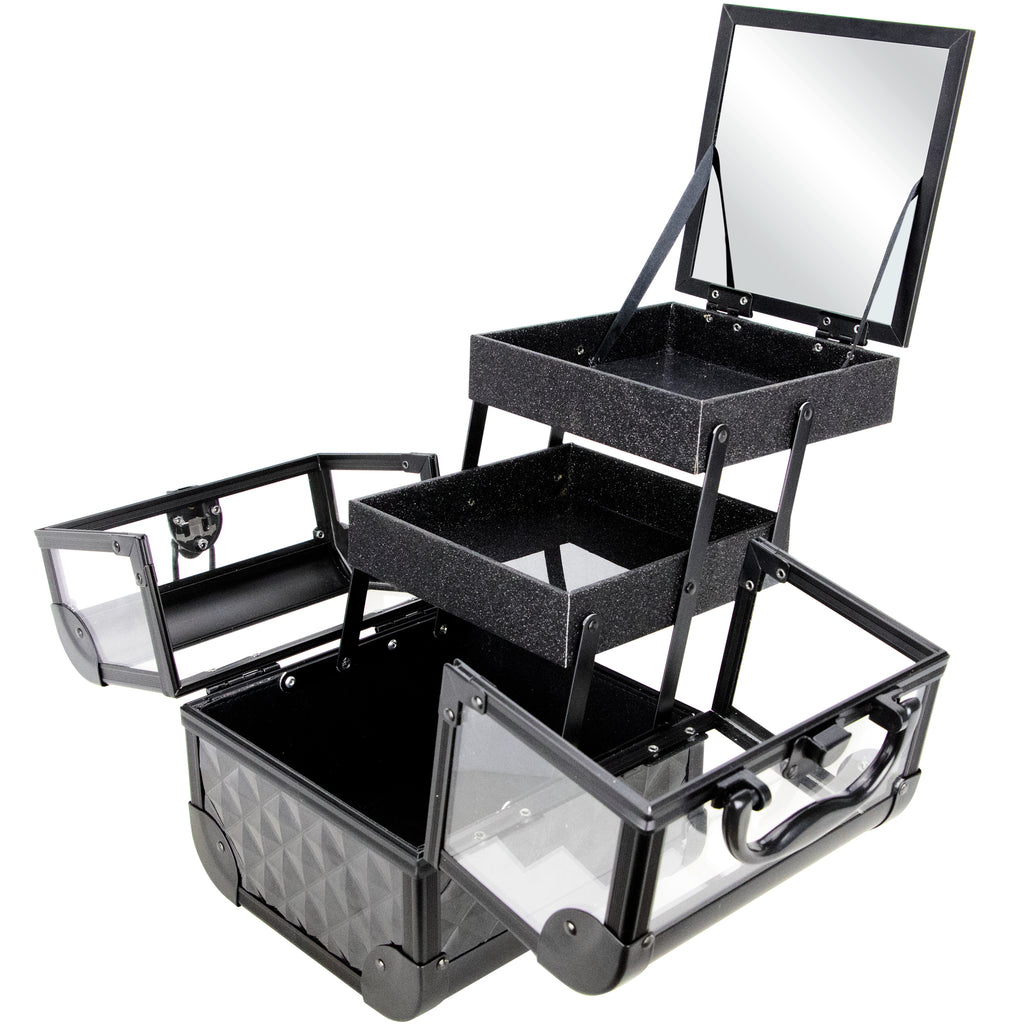 Dell'Unita Armored Acrylic Case with 2 Trays and Mirror by Ver Beauty-VK005 - eBest Makeup Cases