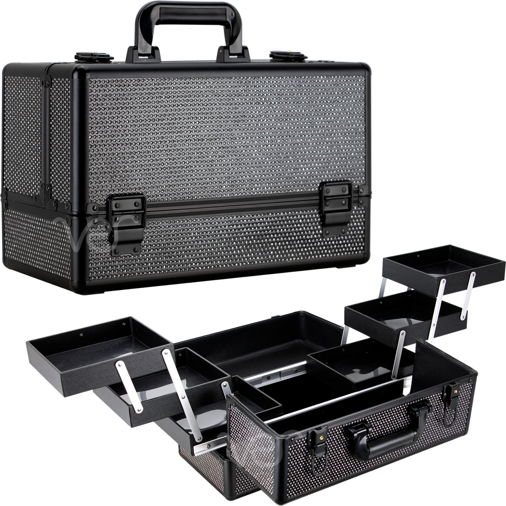 Vicolo Train Makeup Case in Black Krystal by Ver Beauty-VP002 - eBest Makeup Cases