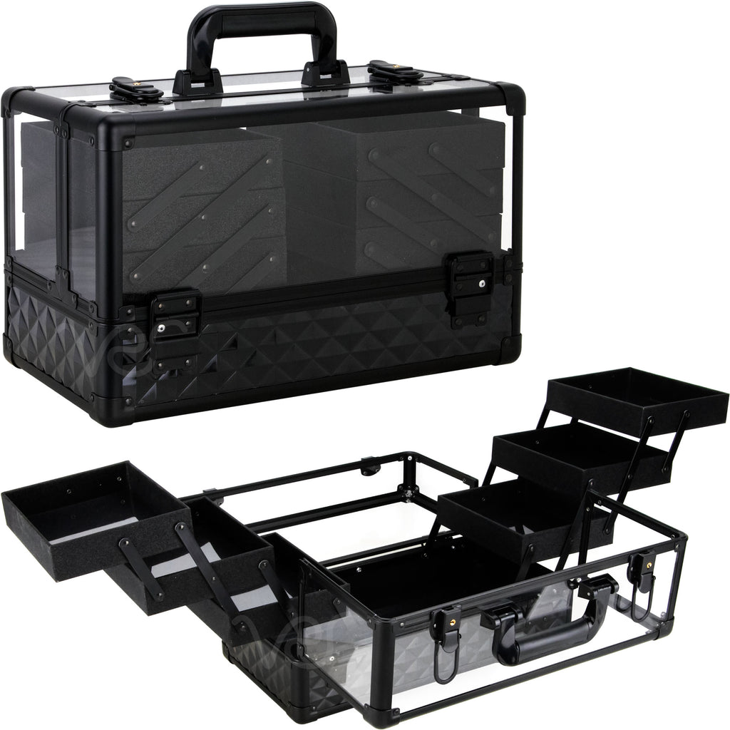 Friuli Armored Acrylic in Diamond Pattern with 6 Trays and Keylocks by Ver Beauty-VP016 - eBest Makeup Cases