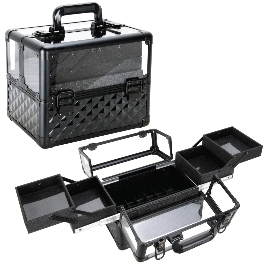 Del Ronco 3.8mm Armored Acrylic Case with 4 Extendable Trays by Ver Beauty - eBest Makeup Cases