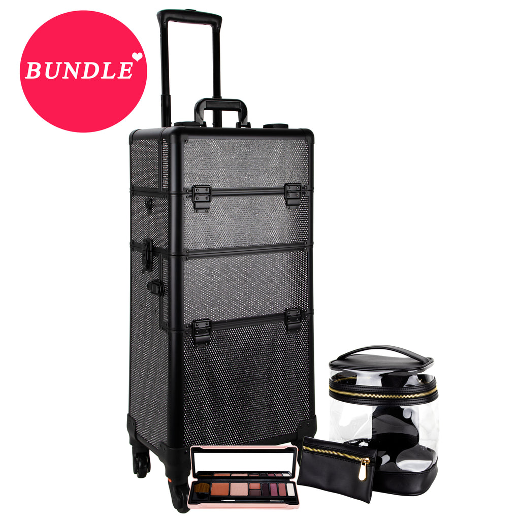 MDG SVT002- Rolling Makeup Case Organizer with Makeup Palette and Zippered Caddy