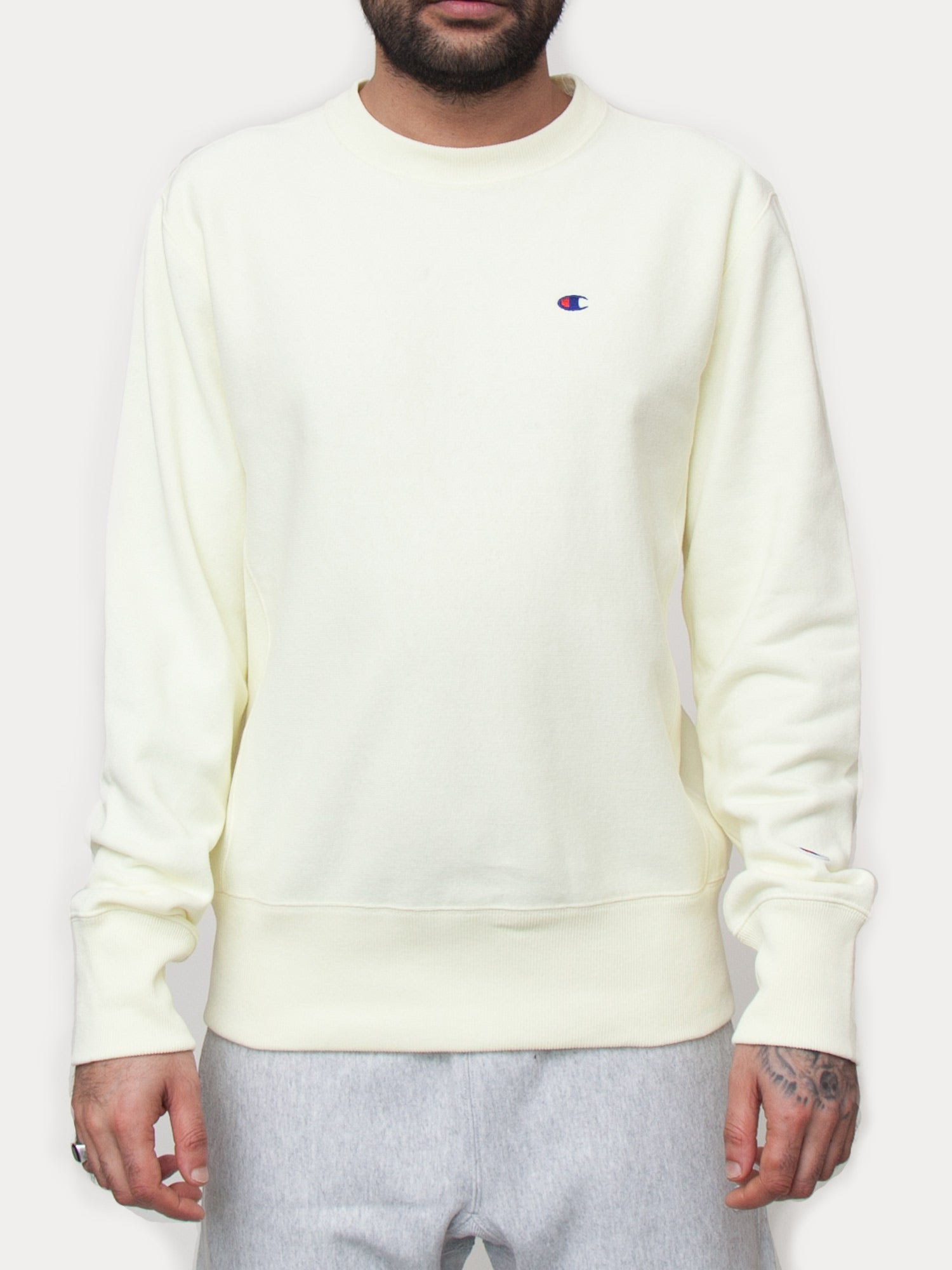 Champion Reverse Weave Crewneck Sweatshirt (Pastel Yellow)