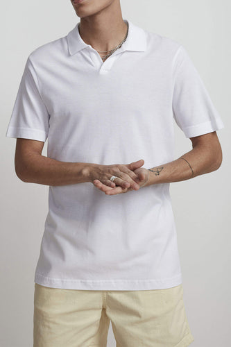 NN07 Open V-neck Short Sleeve Paul Polo Shirt (Egg White)