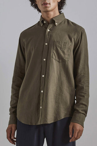 NN07 Levon Cotton Twill Shirt (Army)