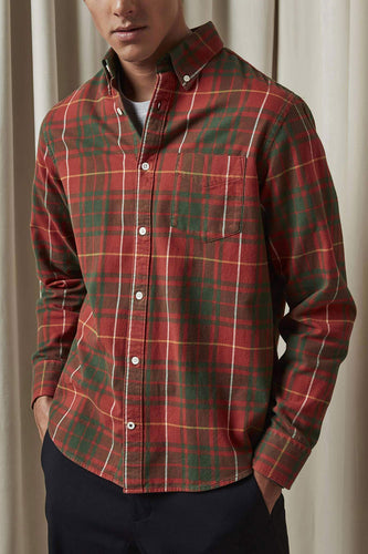 NN07 Levon Cotton-Flannel Shirt (Orange Check)