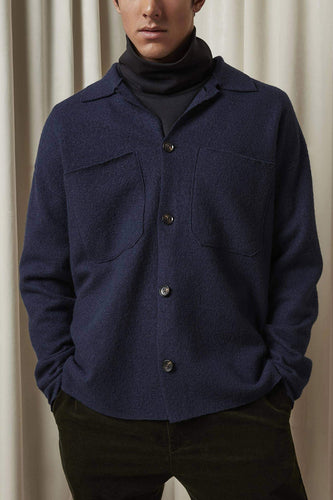 NN07 Jonas Boiled Wool Overshirt (Navy Blue)