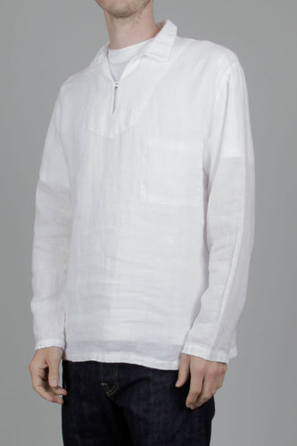 Armor Lux Heritage Pull Over Linen Shirt (Milk) Front