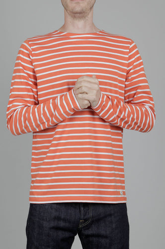 Armor Lux Long Sleeved Sailor Shirt (Orange & White) Model