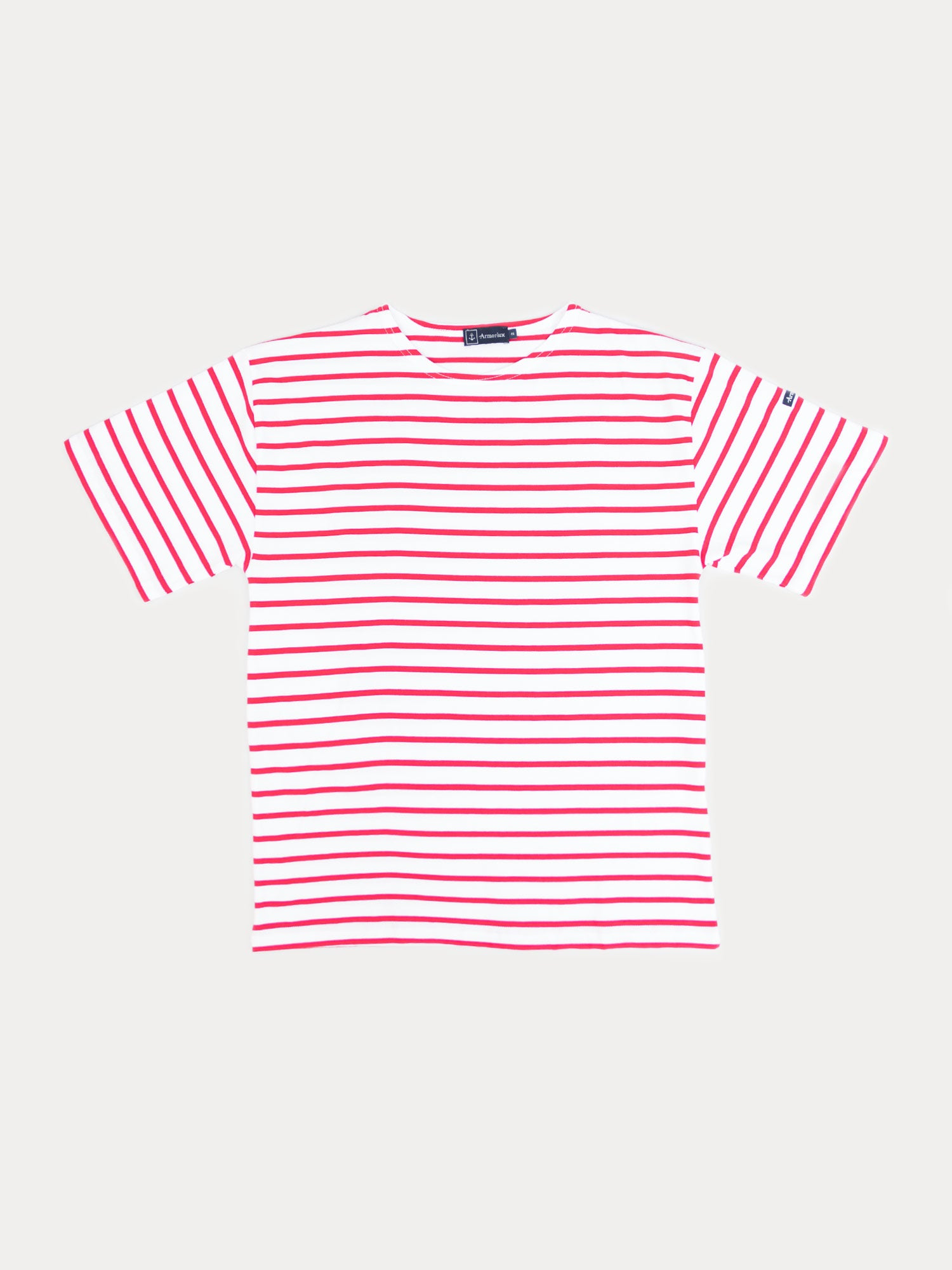 Armor Lux Theviec-Sailor T-Shirt (White & Dark Red)